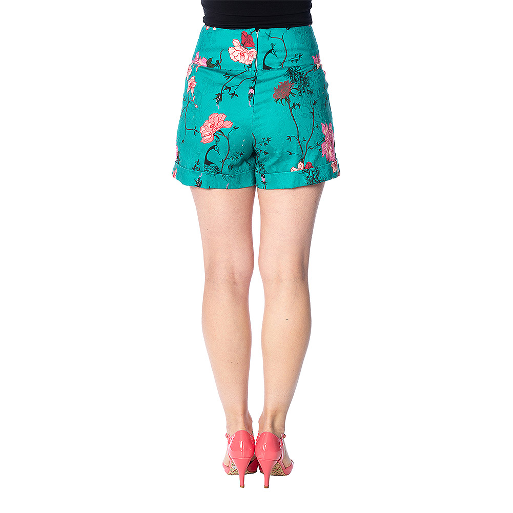 Banned Peacock Baroque Shorts (Turquoise)