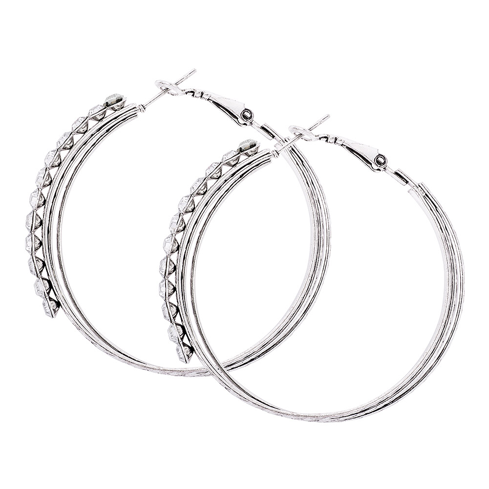 Blue Banana Antique Silver Hoop Earrings (Crystal)