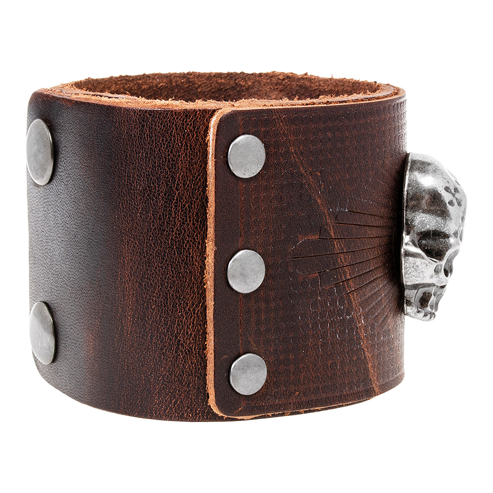 Blue Banana Skull Emblem Wristband (Brown)
