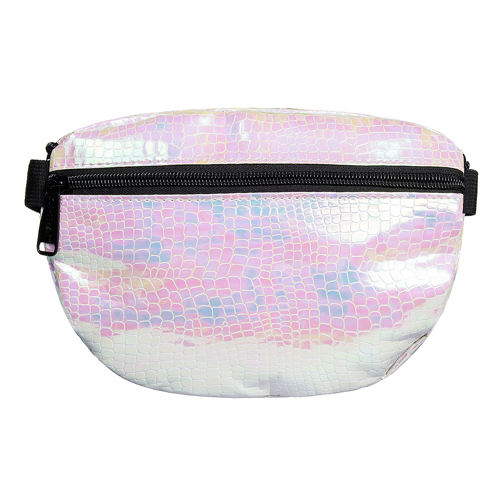 Spiral Textured Iridescent Bum Bag (White)