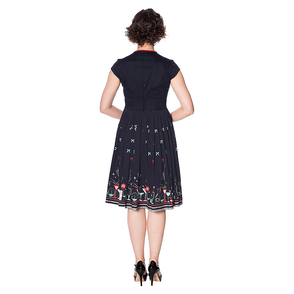 Banned Christmas Cocktails Dress (Navy)