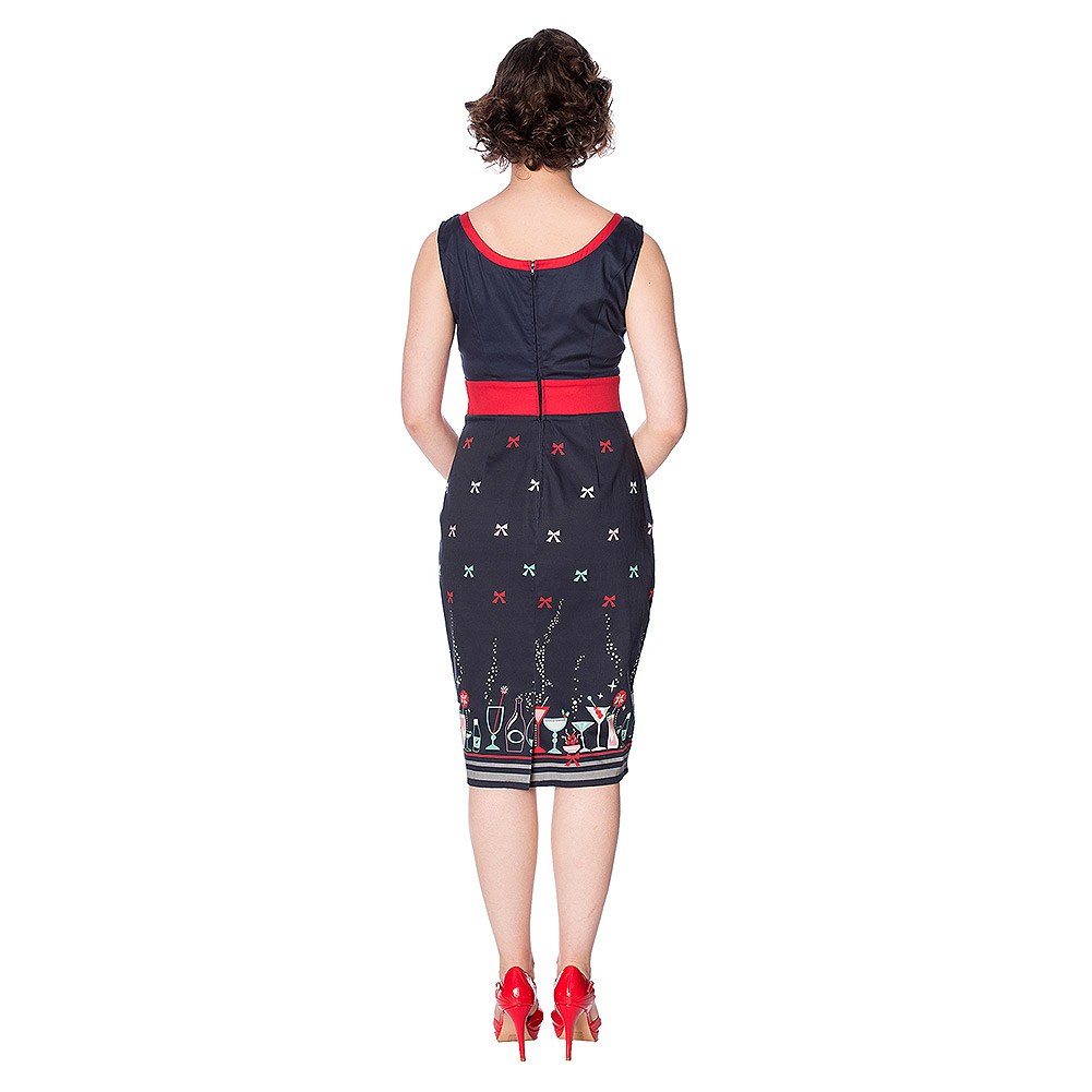 Banned Christmas Cocktails Pencil Dress (Navy)