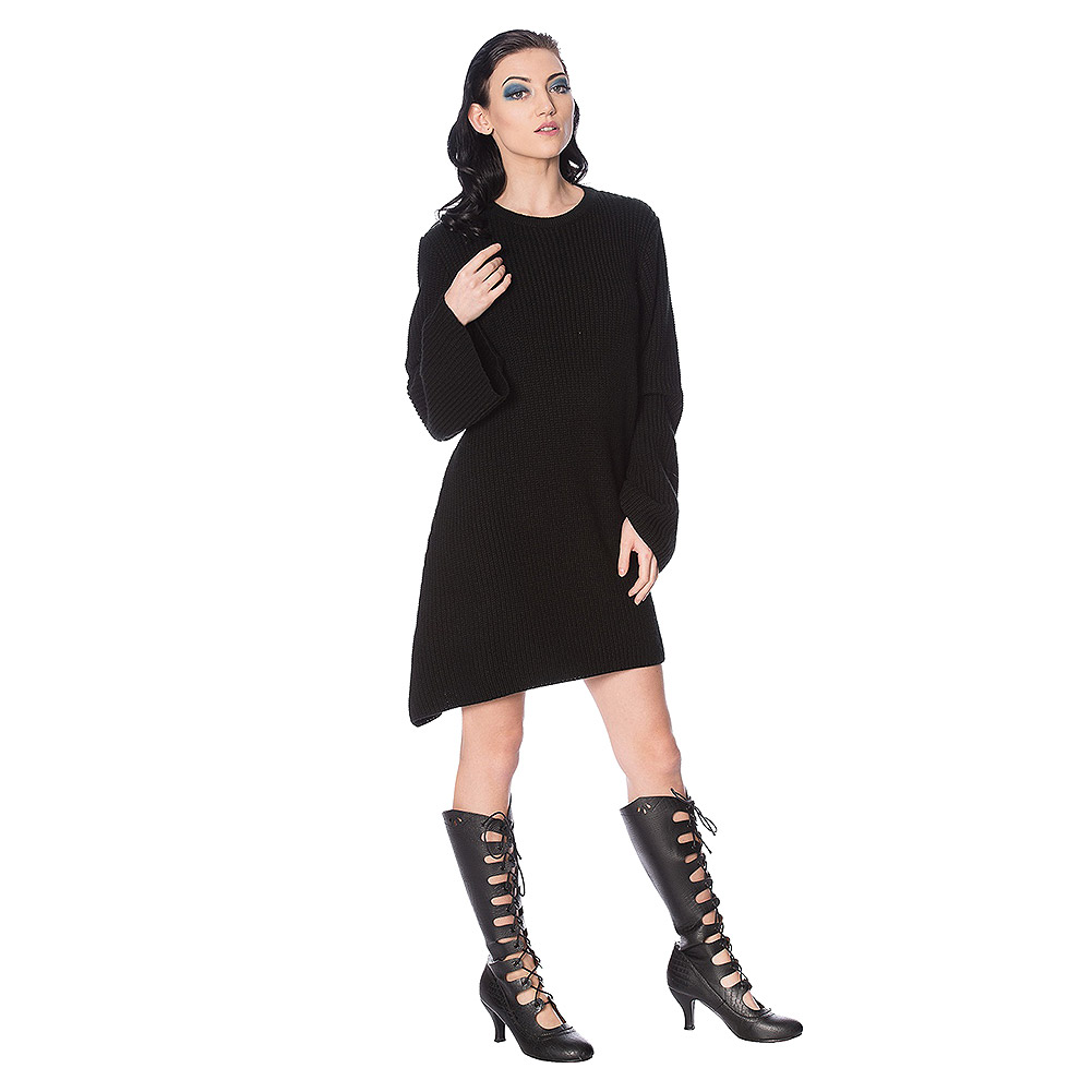 Banned Magma Knit Oversized Dress (Black)
