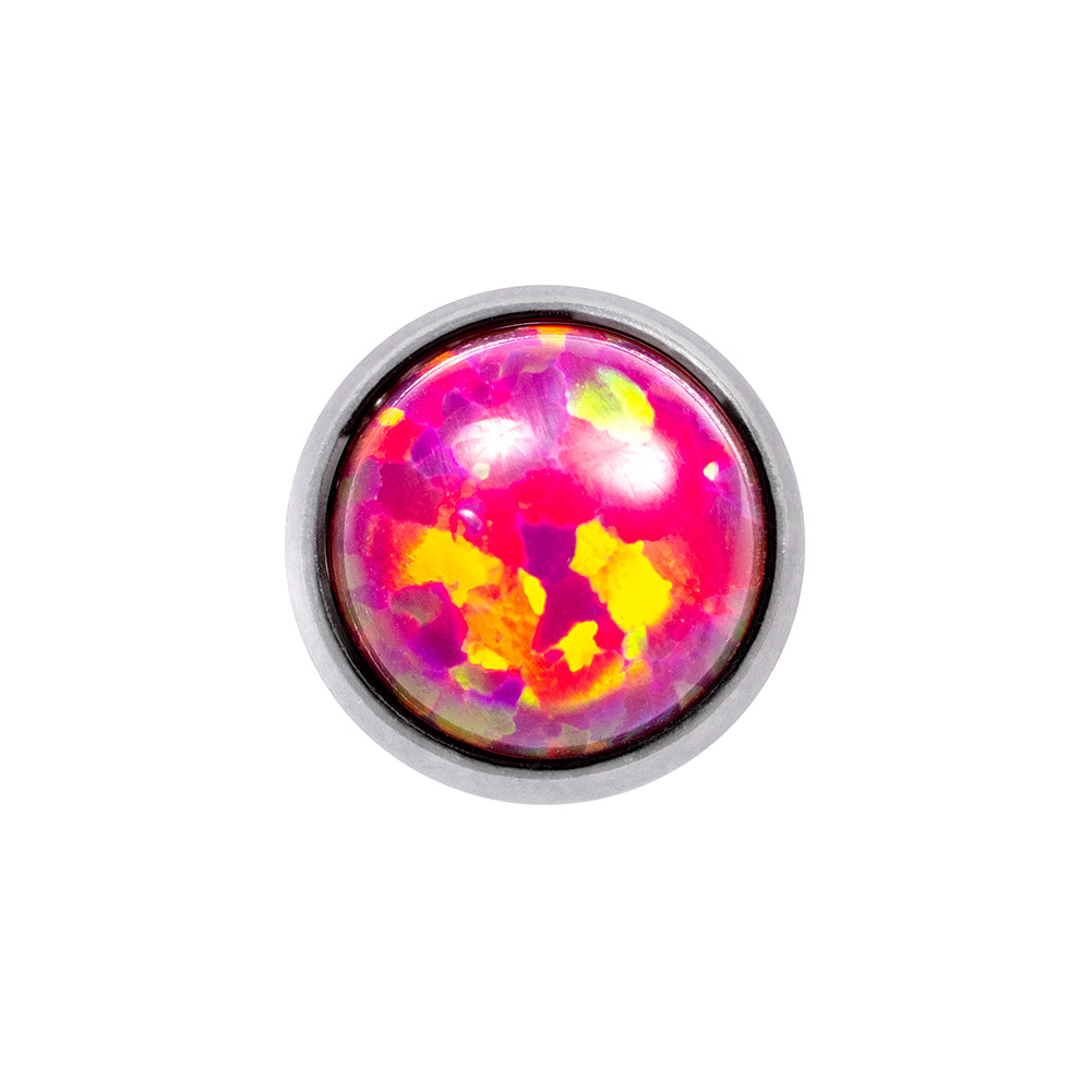Blue Banana Synthetic Opal 1.2 x 6mm Tragus Bar (4mm Pink/Purple)