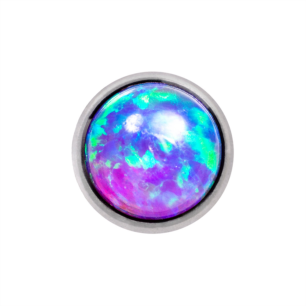 Blue Banana Synthetic Opal 1.2 x 6mm Tragus Bar (5mm Blue/Purple)
