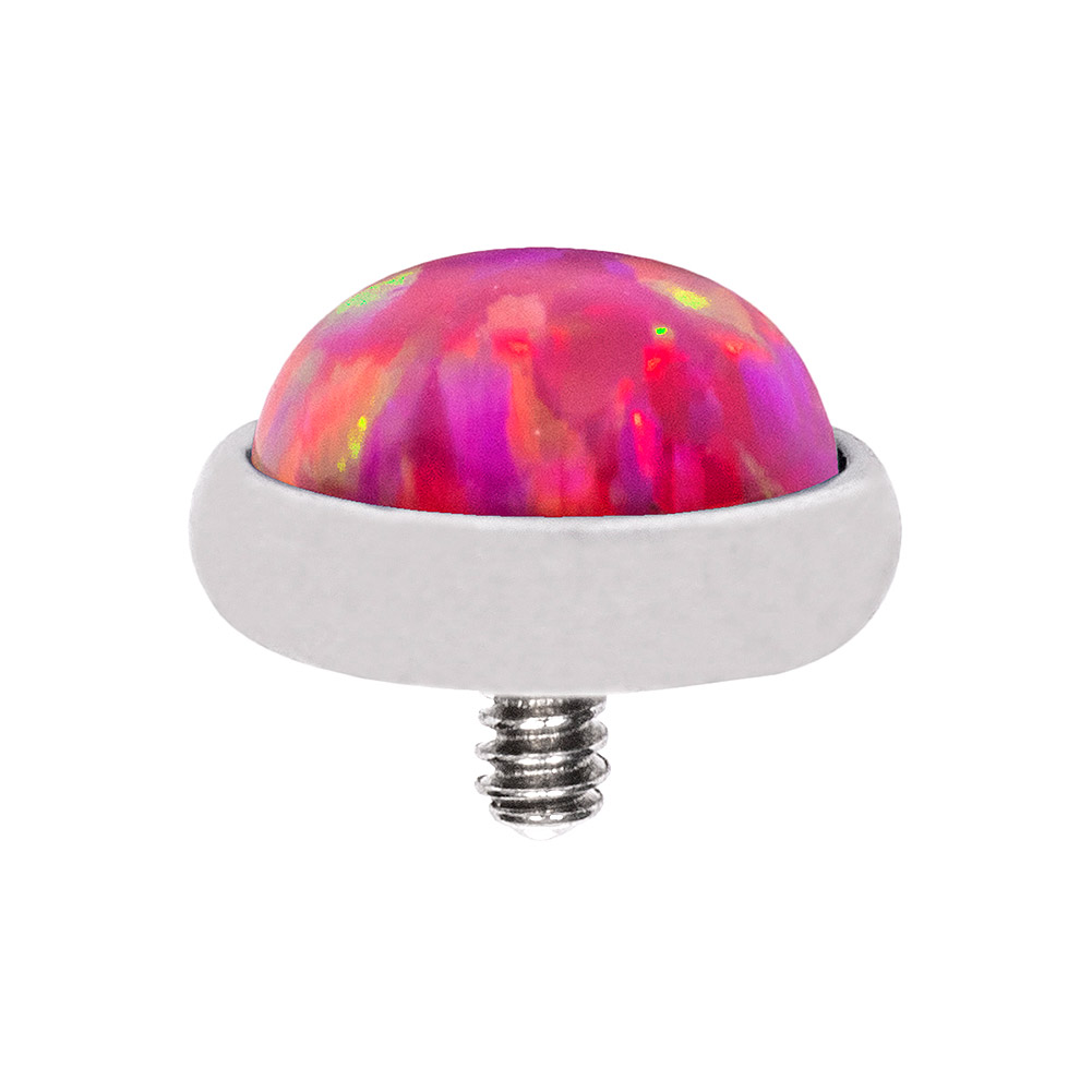Blue Banana Synthetic Opal 1.2 x 8mm Internally Threaded Labret (5mm Pink/Purple)