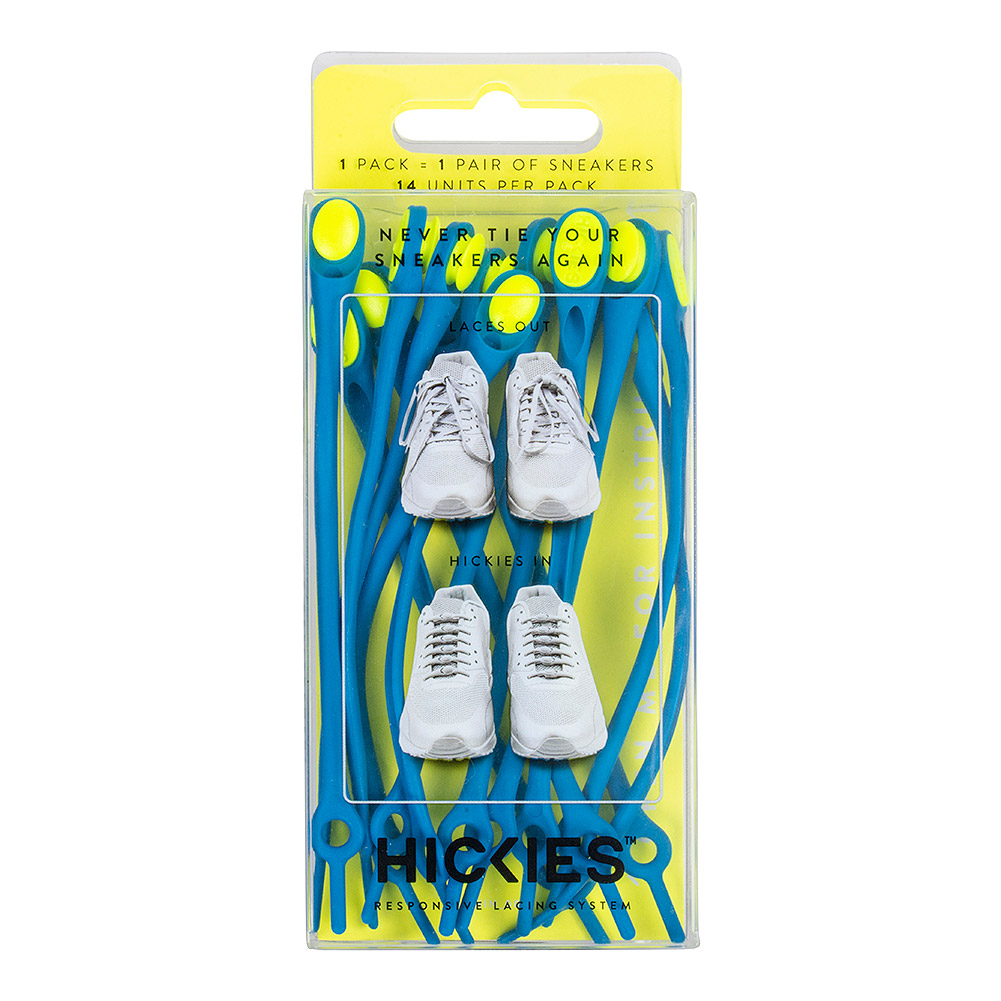 Hickies Laces (Blue/Fluorescent Yellow)