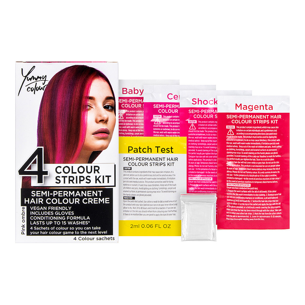 Stargazer Yummy Colour 4 Strips Hair Dye Kit (Pink Ombre)