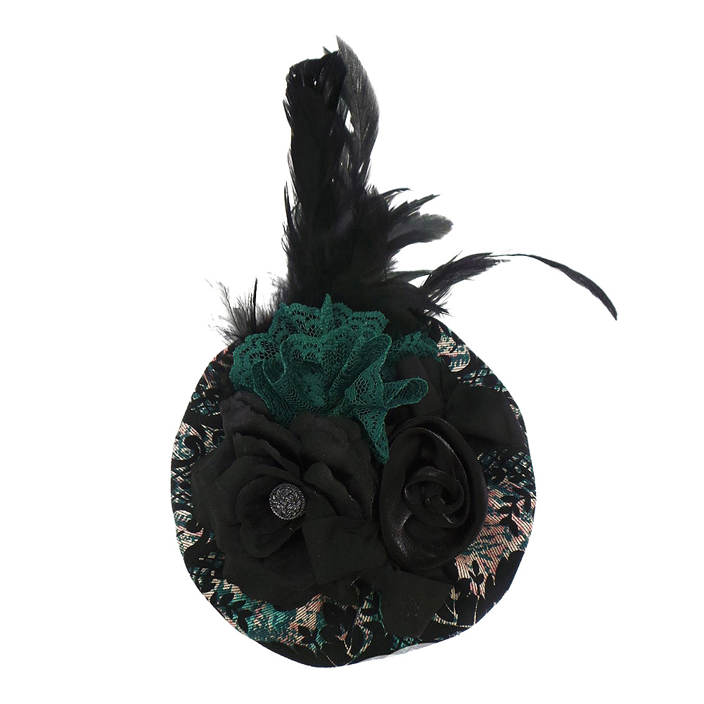 Golden Steampunk Regal Flower Fascinator Hut (Schwarz/Grün)