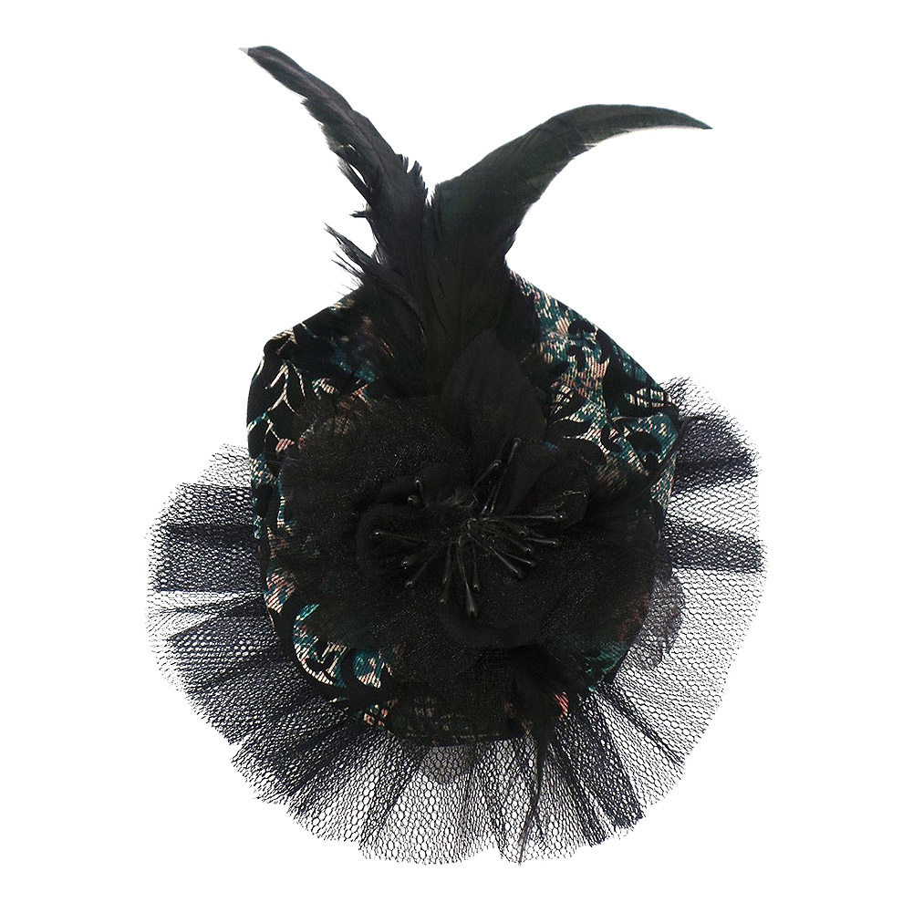 Golden Steampunk Regal Net Fascinator Hat (Black/Green)