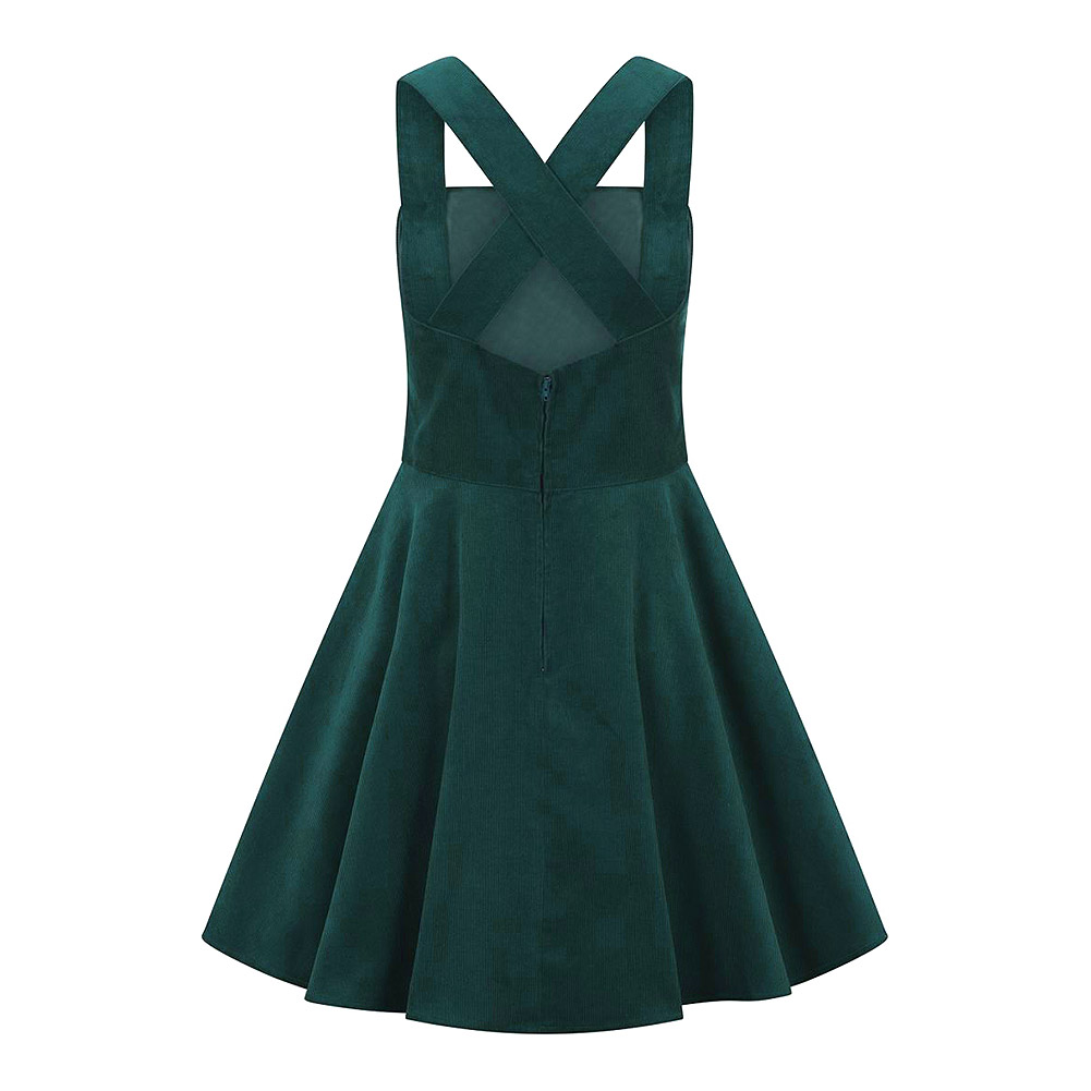 Hell Bunny Wonder Years Pinafore Dress (Green)