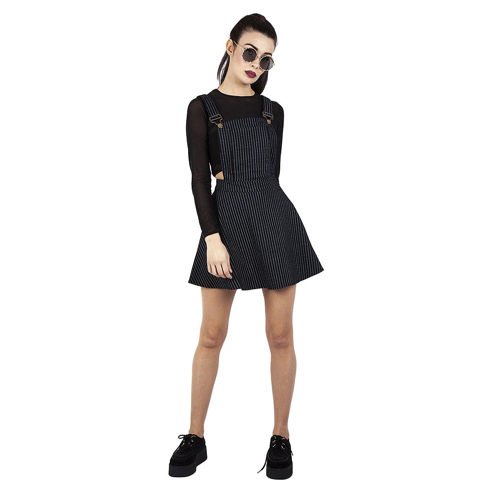 Jawbreaker Over It All Pinstripe Kleid (Schwarz)