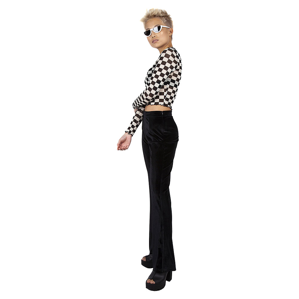 Jawbreaker Glam Rock Velvet Flares Trousers (Black)