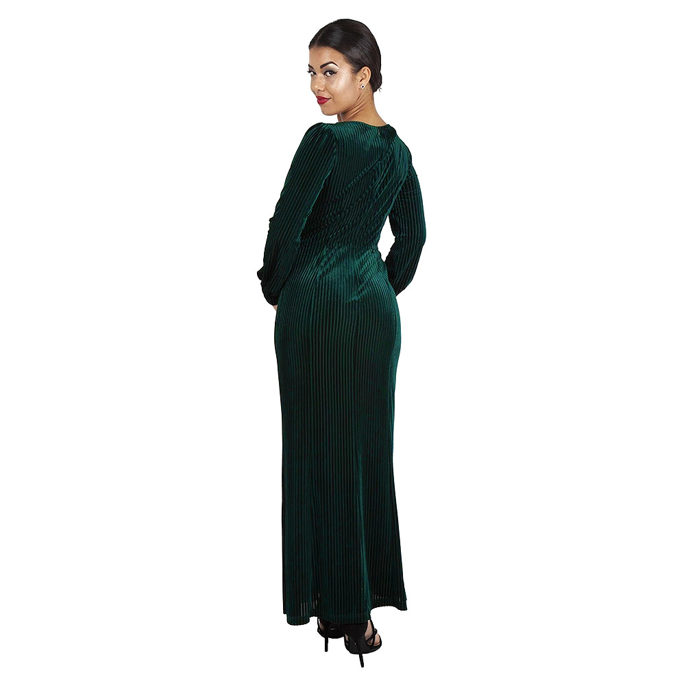 Voodoo Vixen Edith Velvet Jewel Dress (Green)