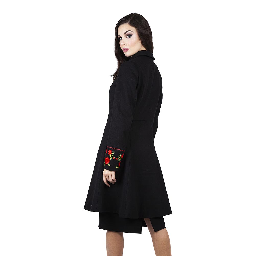 Voodoo Vixen Rosalind Embroidered Floral Coat (Black)