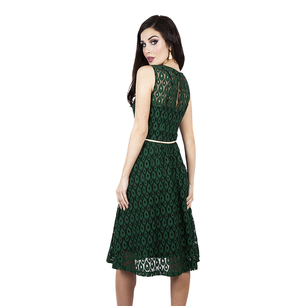Voodoo Vixen Gabriella Overlay Belted Dress (Green)