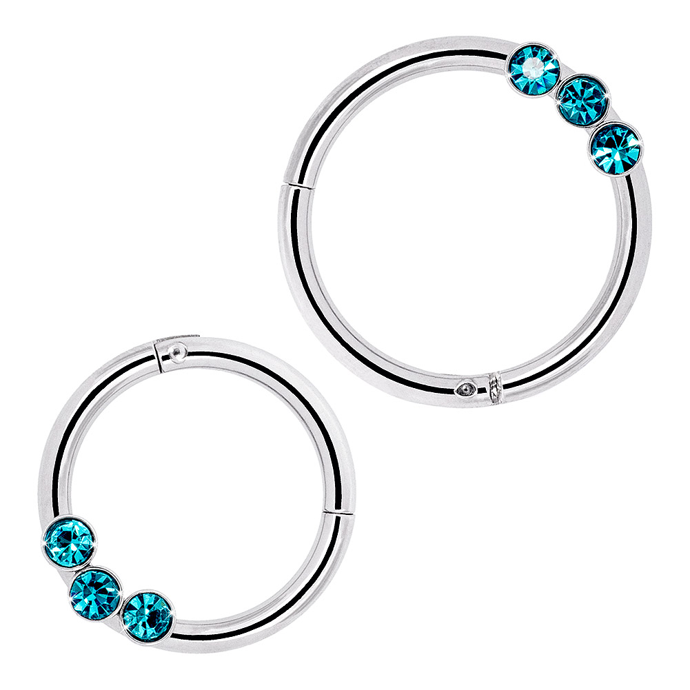 Blue Banana Surgical Steel 1.2mm Stones Hinged Segment Ring (Zircon)