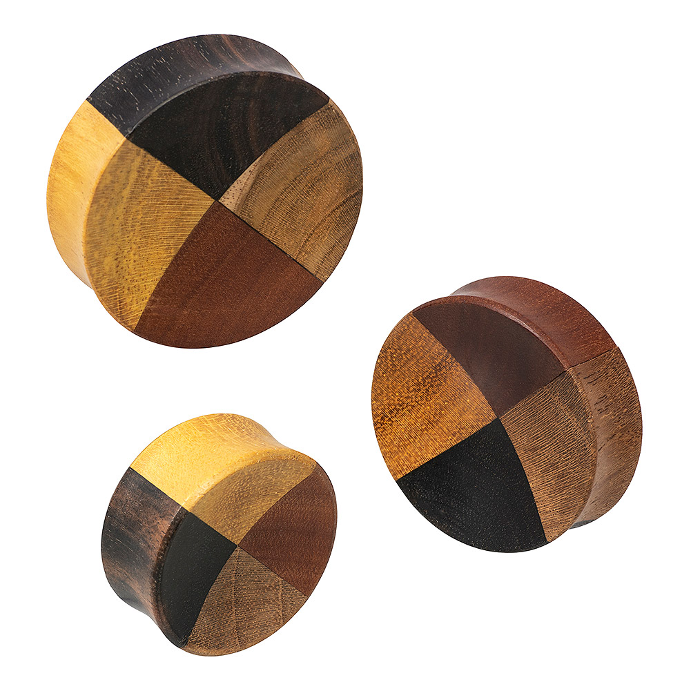 Blue Banana 4 Quarter Wood Ear Plug 28-38mm (Brown)