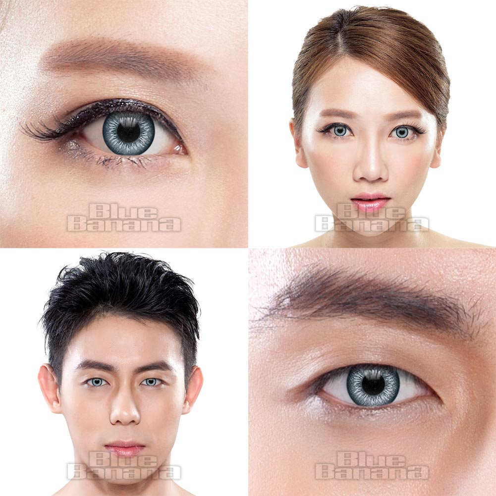 Two Tone Circle 1 Day Coloured Contact Lenses (Grey)