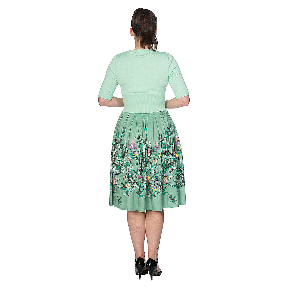 Banned Oriental Tiger Flared Skirt (Green)