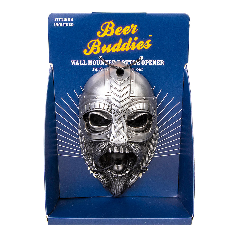 Beer Buddies Abrebotellas Decorativo de Pared Casco Vikingo - Plateado