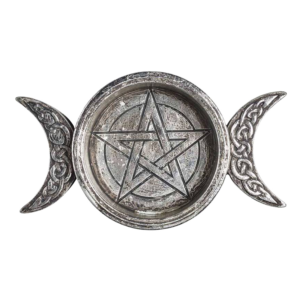 Alchemy Triple Moon Trinket Dish & Candle Holder (Silver)