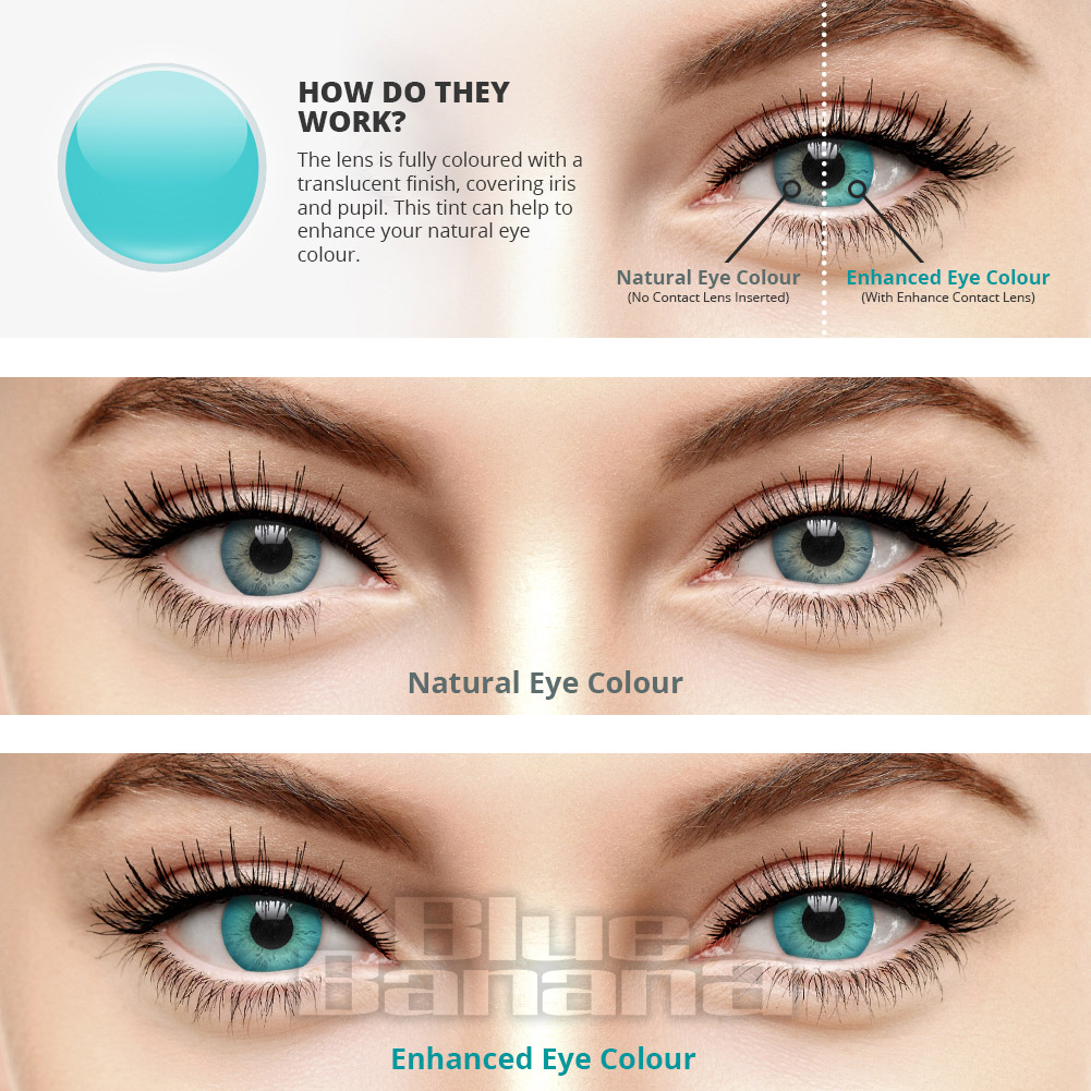 Enhance Full Tint 30 Day Coloured Contact Lenses (Aqua)