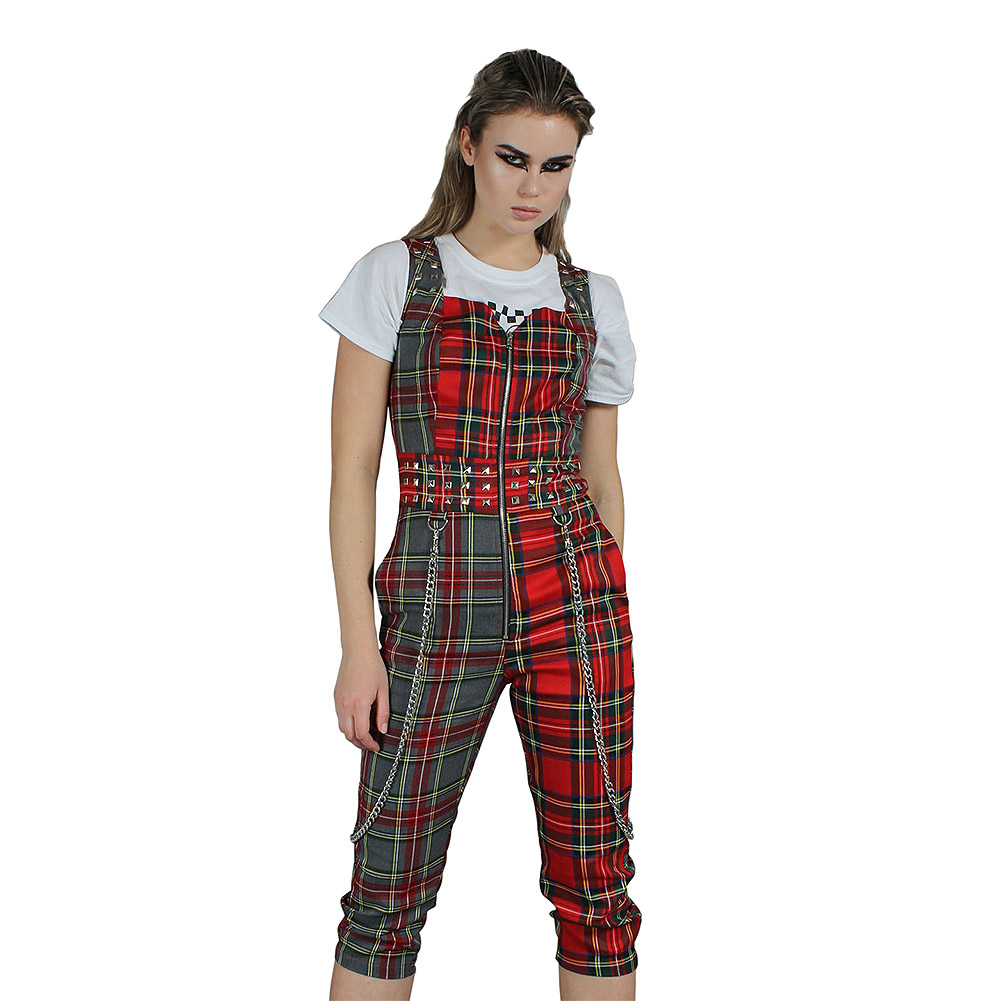 Jawbreaker Pretty Vacant Punk Plaid Jumpsuit (Multicoloured)