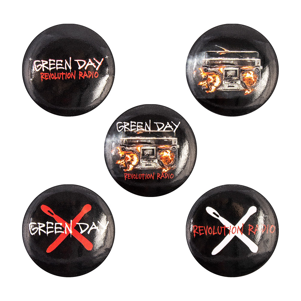 Official Green Day Revolution Radio Pin Badge Pack (Pack Of 5)