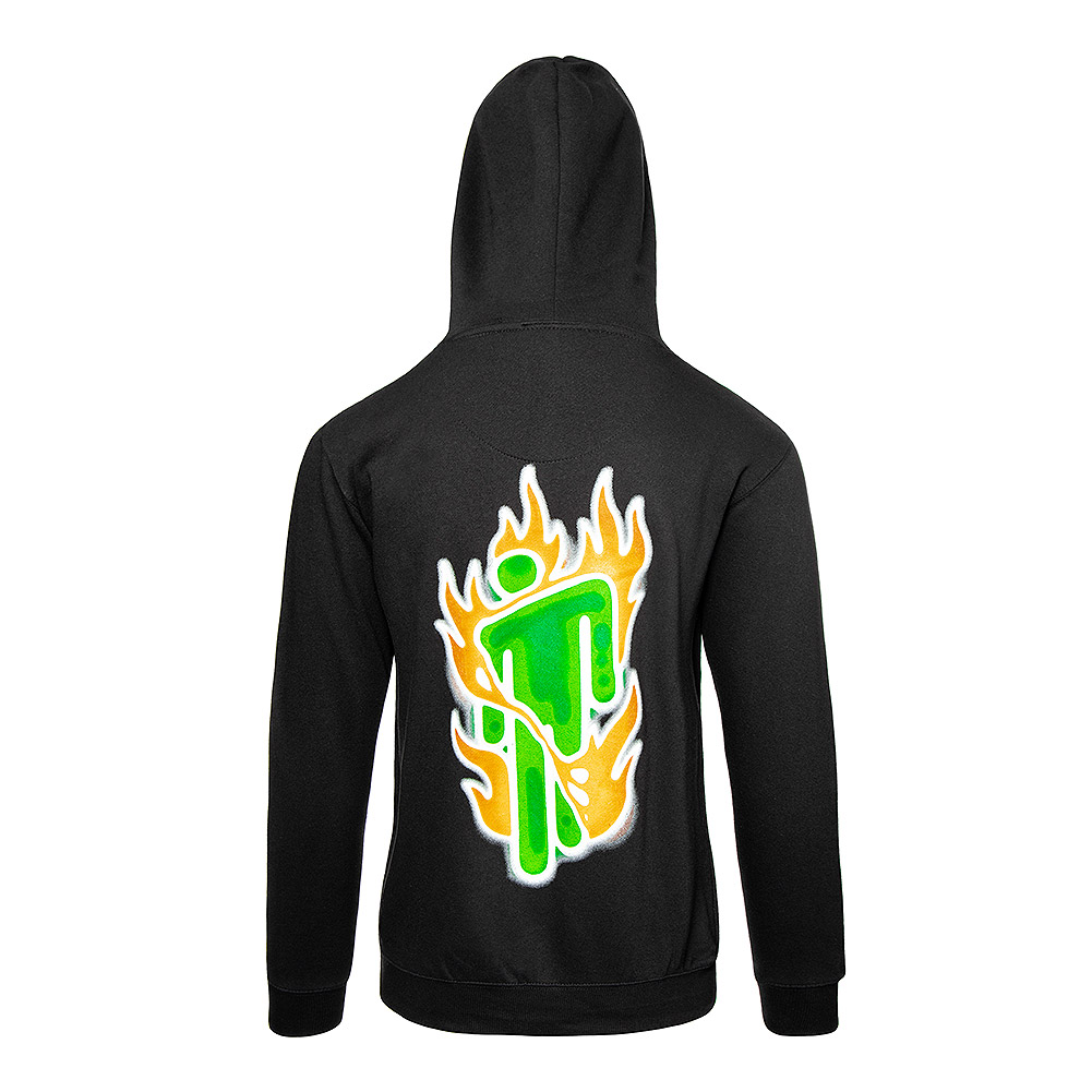 Official Billie Eilish Airbrush Flames Hoodie (Black)