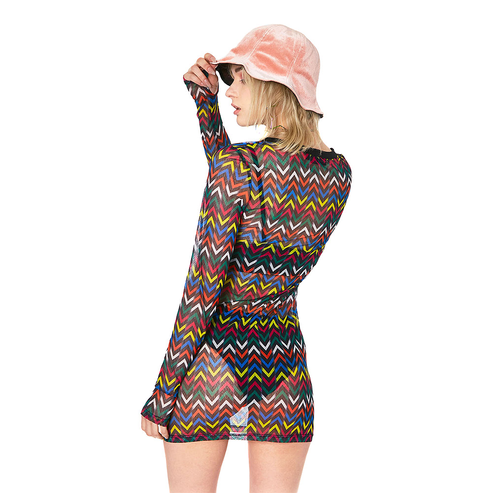 Jawbreaker Mix Tape Mesh Dress (Multicoloured)