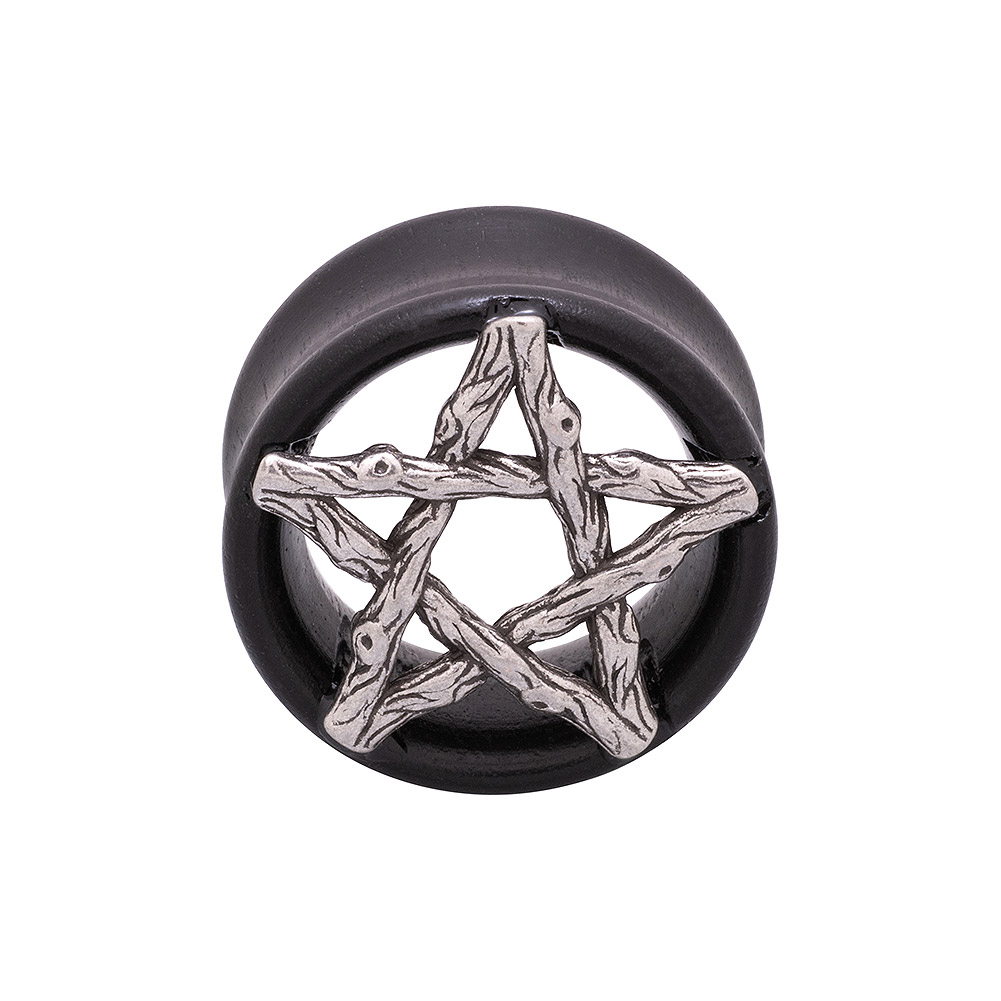 Blue Banana Wood & Silver Pentagram Tunnel 8-25mm (Brown)