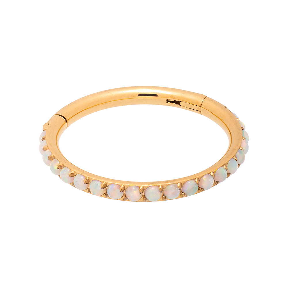 Blue Banana Plasma Gold 1.2mm Hinged Segment Ring (Half Opal)