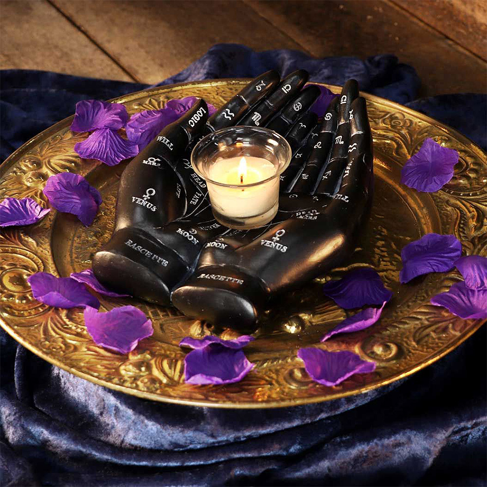 Nemesis Now Palmists Guide Candle Holder (Black)