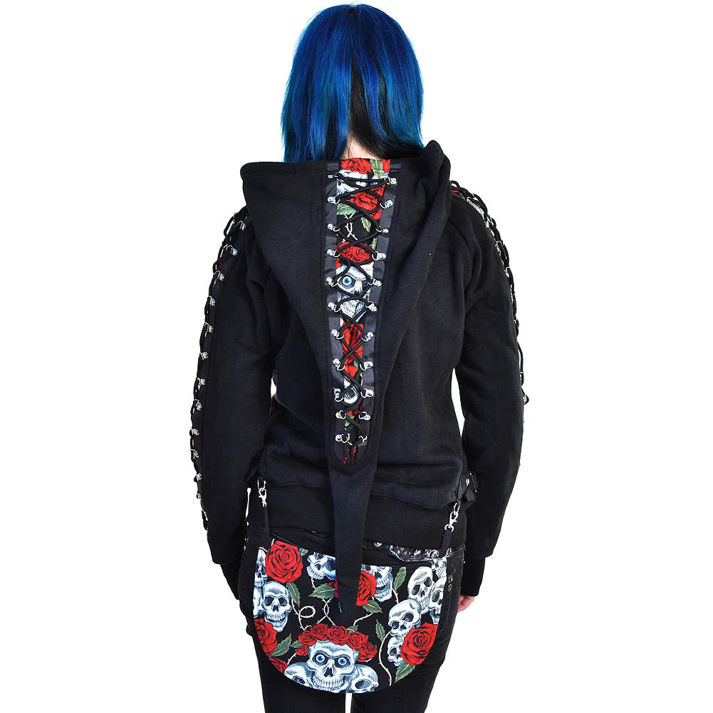 Jawbreaker Skull & Rose Print Pixie Hoodie (Black/Red)
