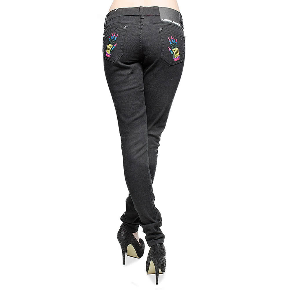Criminal Damage Skinny Fit Jeans With Skeleton Hands (Black/Rainbow)