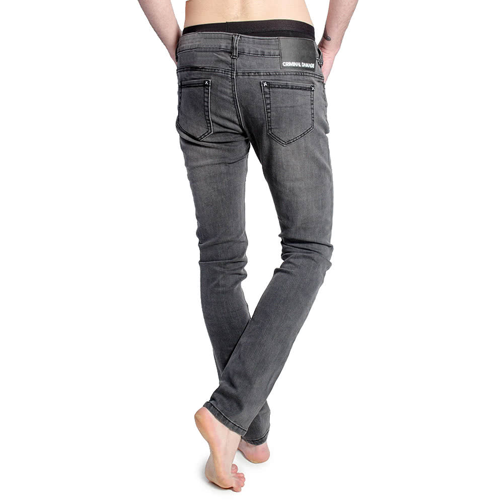Criminal Damage Stonewash Skinny Fit Jeans (Grey)