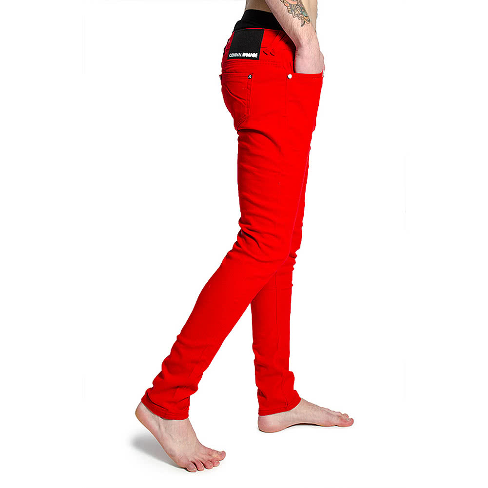 Criminal Damage Skinny Fit Jeans (Red)