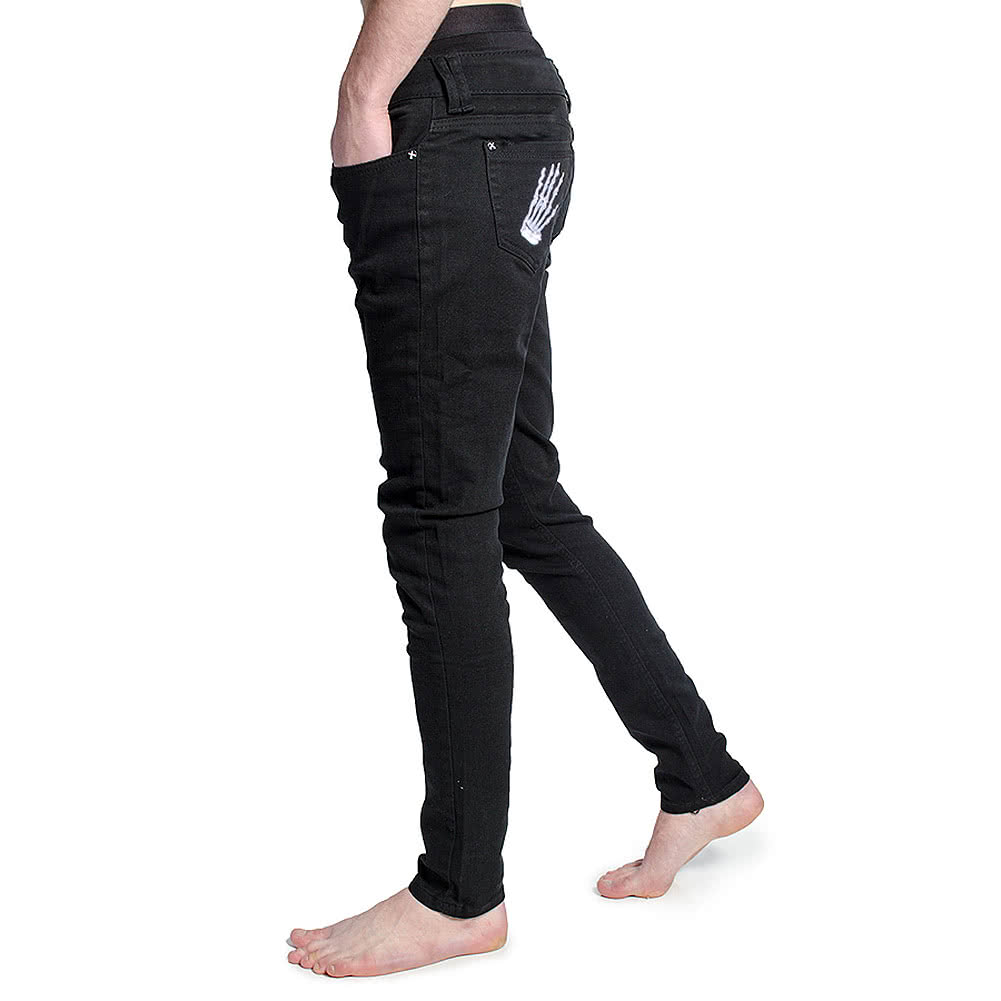 Criminal Damage Skeleton Hands Skinny Fit Jeans (Black)