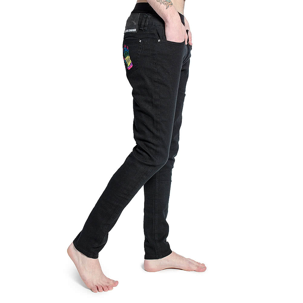 Criminal Damage Men's Skeleton Hands Patterned Skinny Fit Jeans (Black/Rainbow)