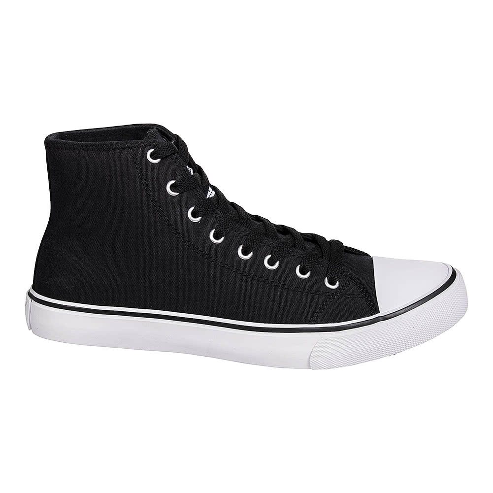 High-top trainer in black canvas with