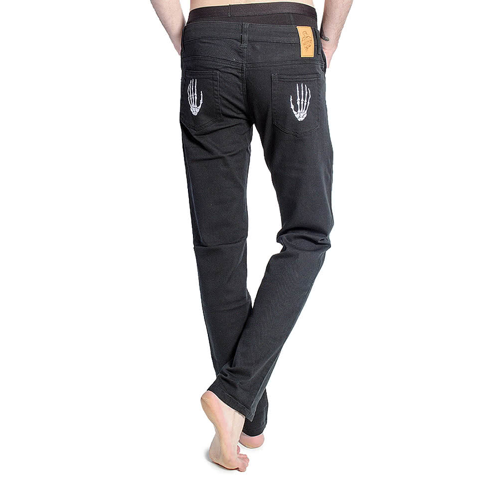 Blue Banana Skeleton Hand Skinny Fit Jeans (Black)