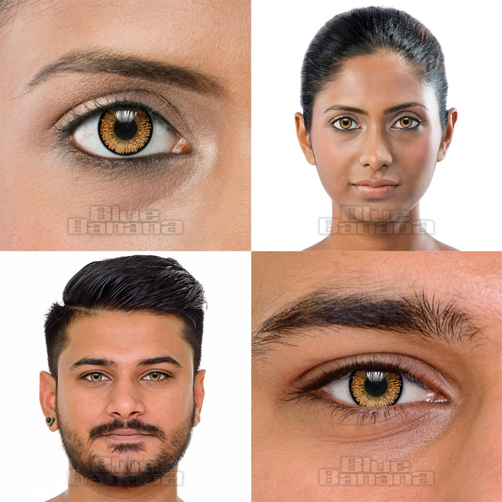 Tri Tone 90 Day Coloured Contact Lenses (Brown Hazel)