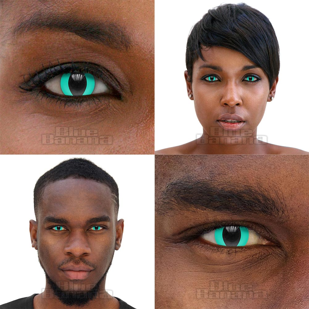 Cat's Eye 90 Day Coloured Contact Lenses (Aqua Blue)