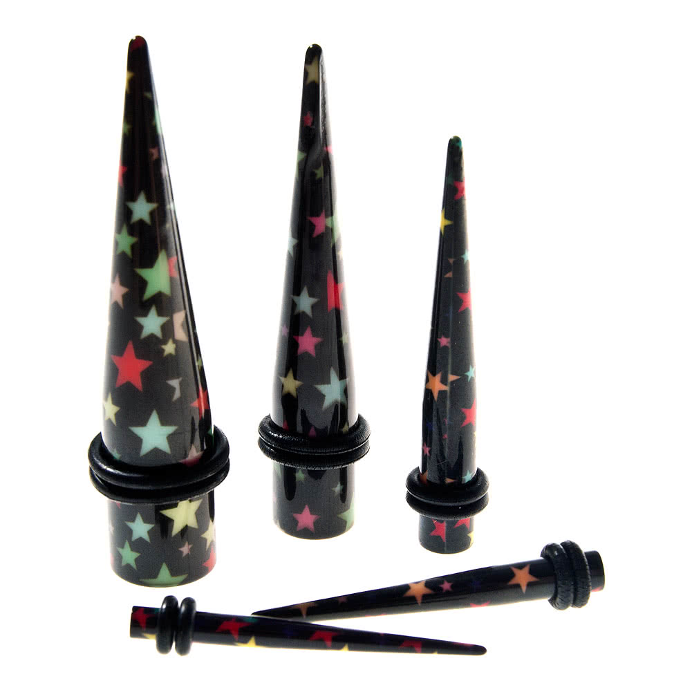 Blue Banana Acrylic Stars Ear Stretcher (Black)