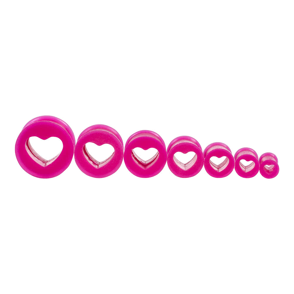 Blue Banana Silicone Heart Flesh Tunnel 3-28mm (Purple)