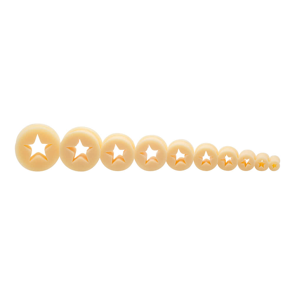 Blue Banana Silicone Star Flesh Tunnel 4-26mm (Nude)
