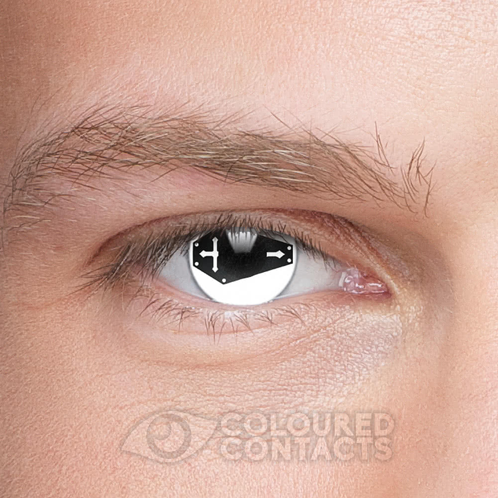 Coffin 90 Day Coloured Contact Lenses (White/Black)