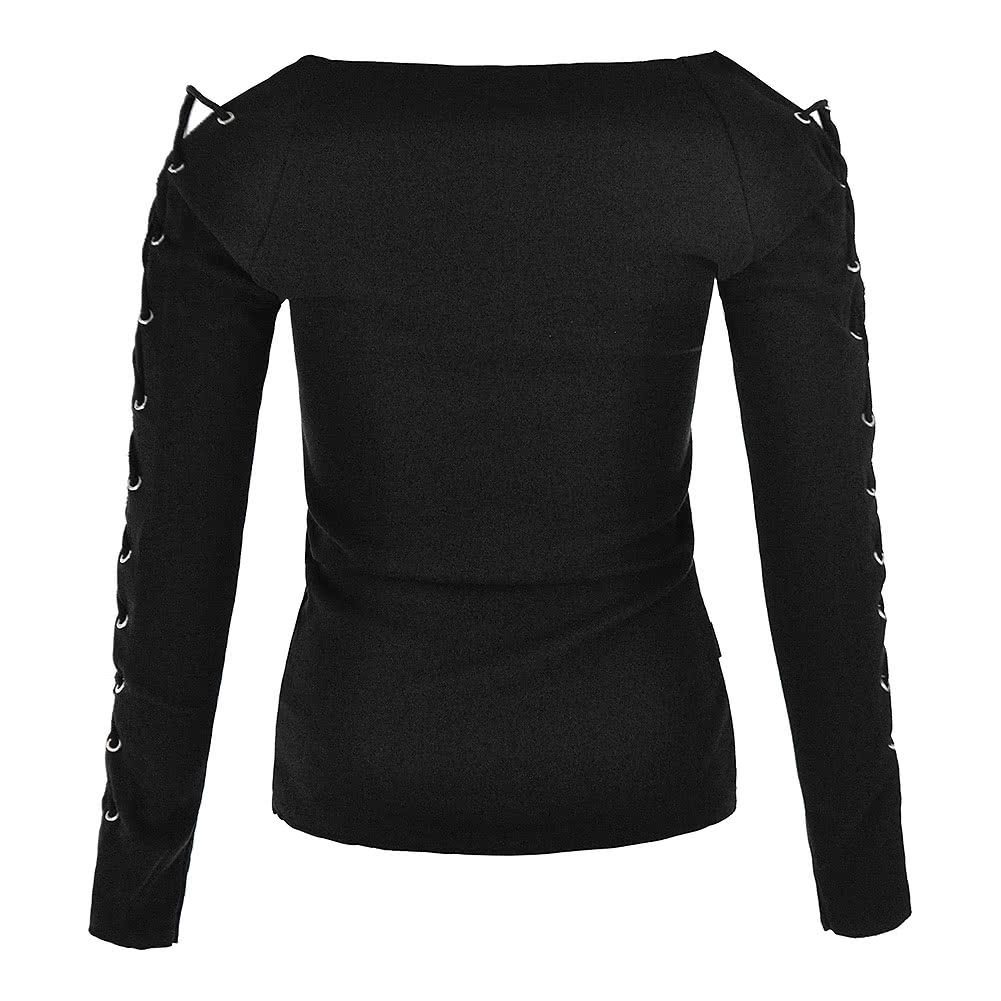 Spiral Direct Witch Cat Lace Up Top (Schwarz)