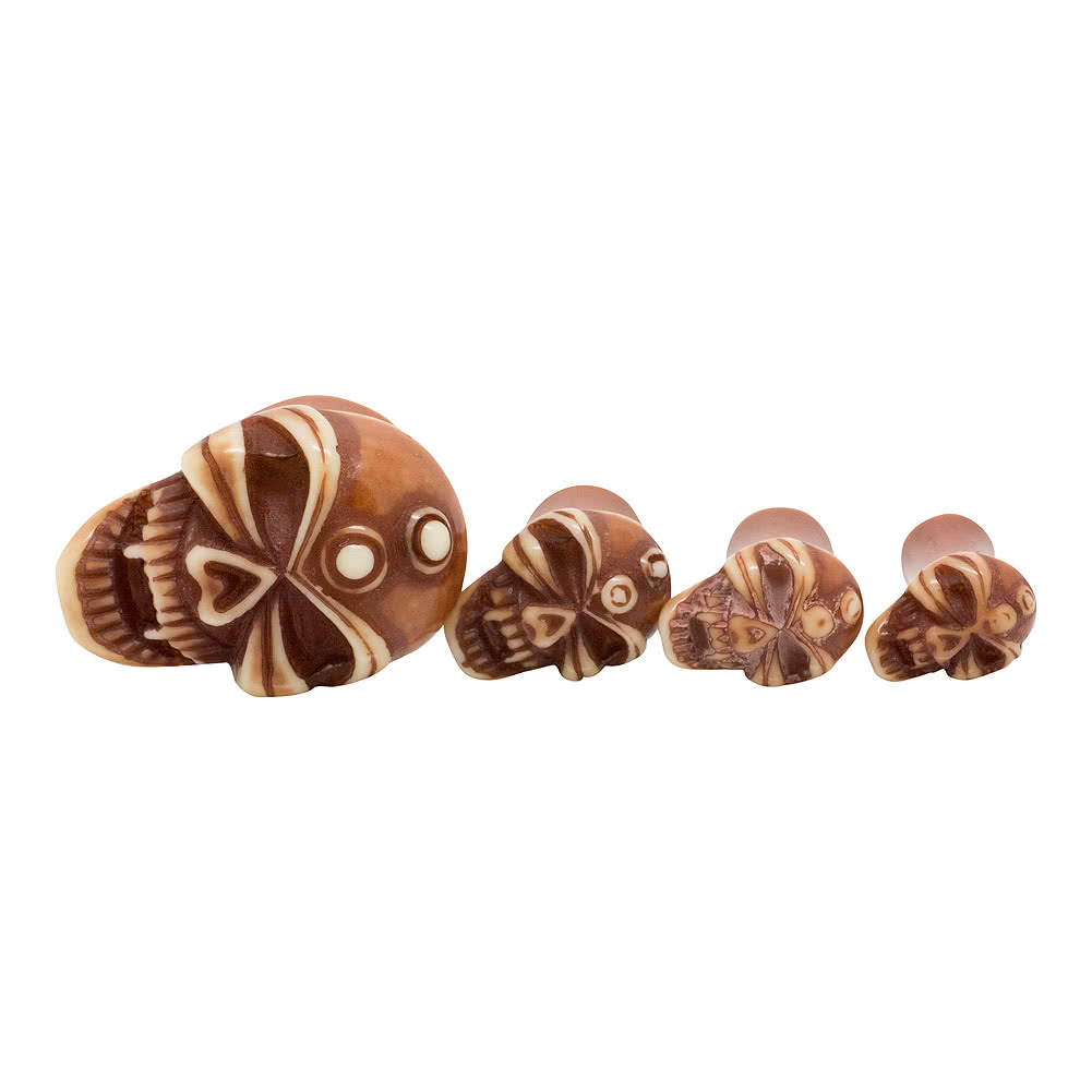 Blue Banana Acrylic Skull Ear Plug 4-12mm (Brown)